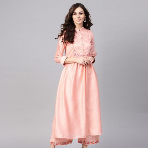 Engrossing Pink Colored Party Wear Floral Embroidered Chanderi Silk Kurti