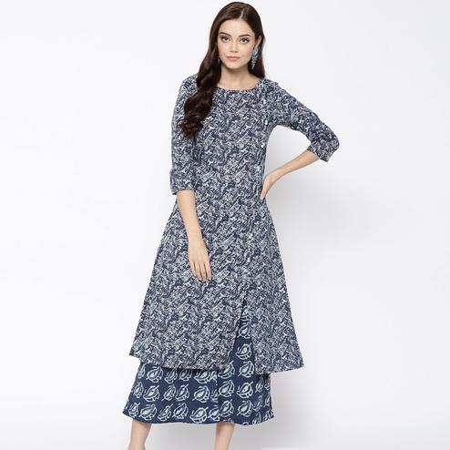 Innovative Blue Colored Casual Wear Printed Cotton Kurti