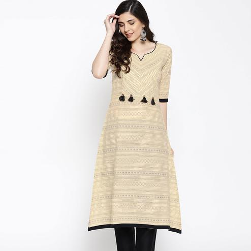 Amazing Beige Colored Casual Wear Printed Cotton Kurti