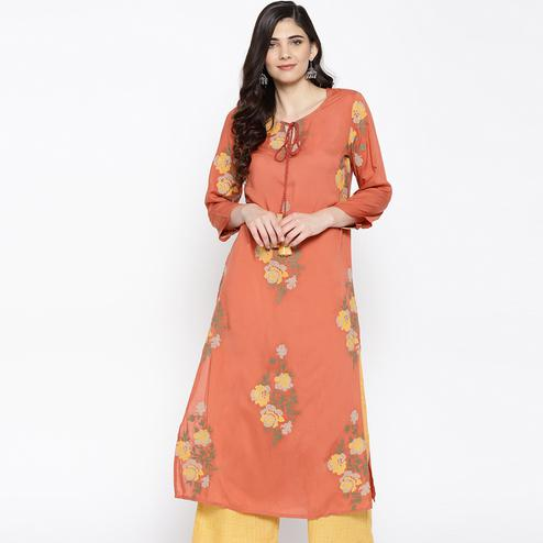 Gorgeous Peach Colored Casual Wear Floral Printed Modal Kurti