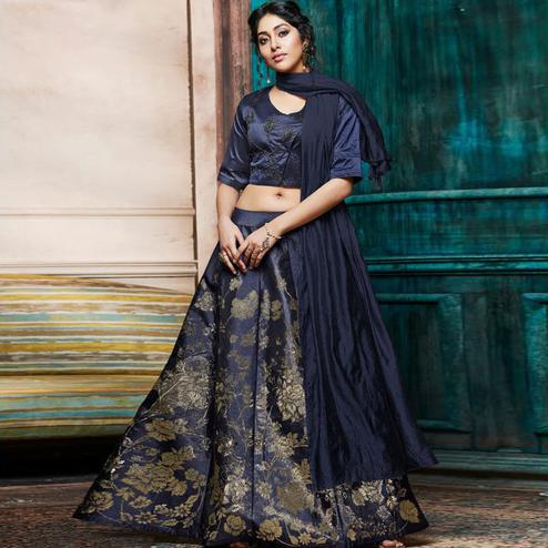 Fantastic Navy Blue Colored Partywear Embroidery Banarasi Silk Lehenga Choli