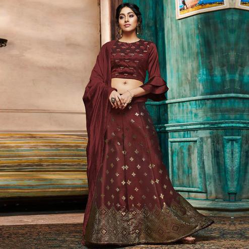 Mesmeric Maroon Colored Partywear Embroidery Banarasi Silk Lehenga Choli