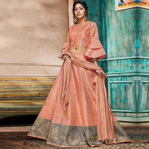Amazing Peach Colored Partywear Embroidery Banarasi Silk Lehenga Choli