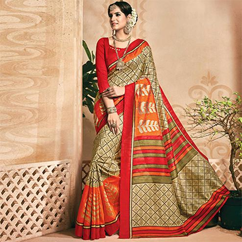 Beige - Orange Printed Saree