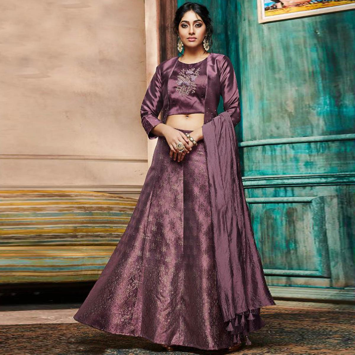 Refreshing Purple Colored Partywear Embroidery Banarasi Silk Lehenga Choli