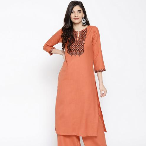 Desirable Peach Colored Party Wear Embroidered Cotton Kurti