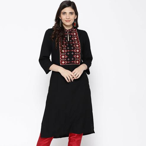 Exotic Black Colored Party Wear Embroidered Viscose-Rayon Kurti
