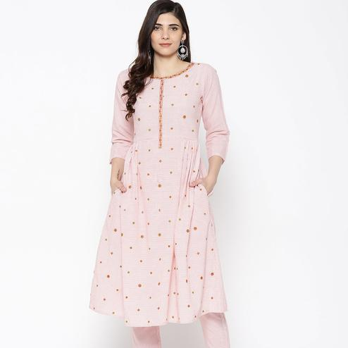 Sophisticated Pink Colored Party Wear Embroidered Cotton Kurti