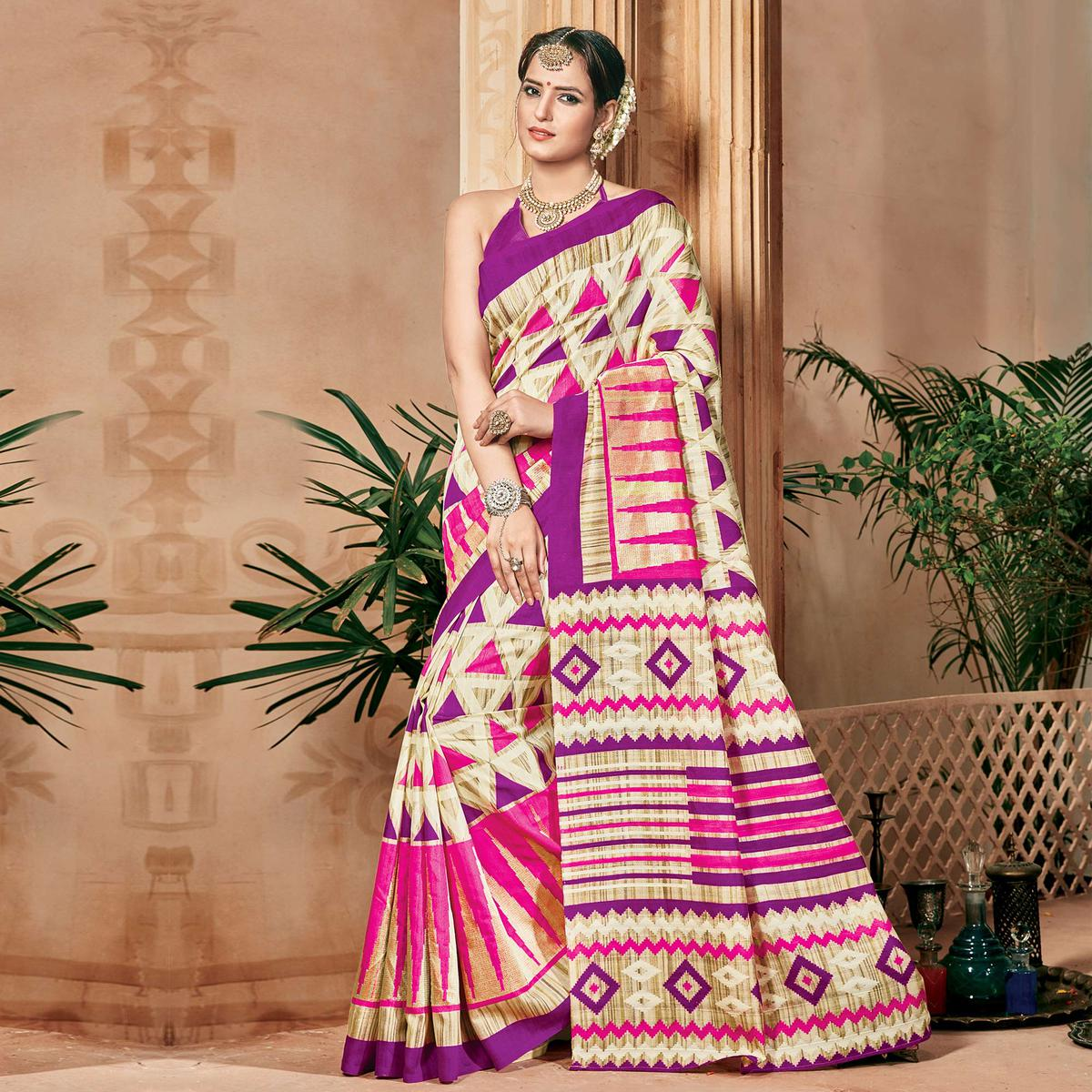 Purple - Beige Cotton Silk Saree