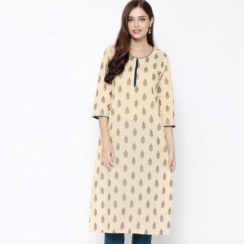 Trendy Cream Colored Casual Wear Floral Printed Cotton Kurti