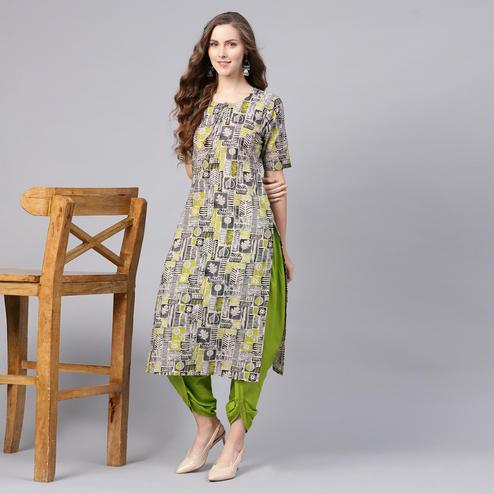 Elegant Multi Colored Casual Wear Printed Cotton Kurti