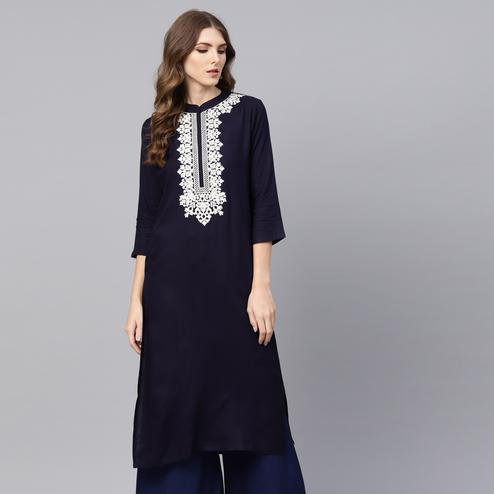 Radiant Navy Blue Colored Casual Wear Embroidered Viscose-Rayon Kurti