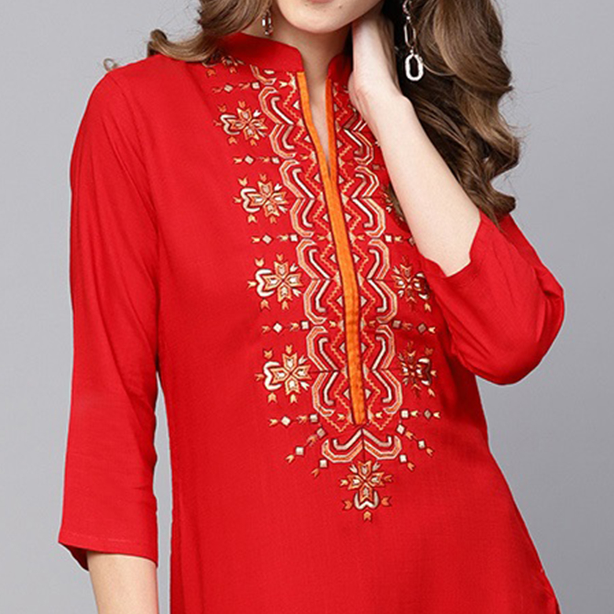 Pleasant Red Colored Casual Wear Embroidered Viscose-Rayon Kurti
