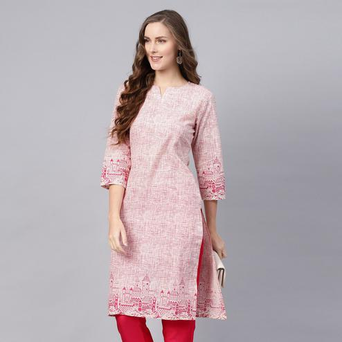 Energetic Pink Colored Casual Wear Printed Cotton Kurti