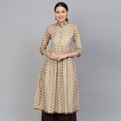 Mesmeric Beige Colored Party Wear Printed Cotton Kurti