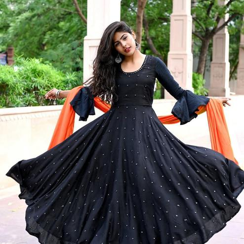 Engrossing Black Colored Partywear Pearl Work Muslin Cotton Gown With Dupatta