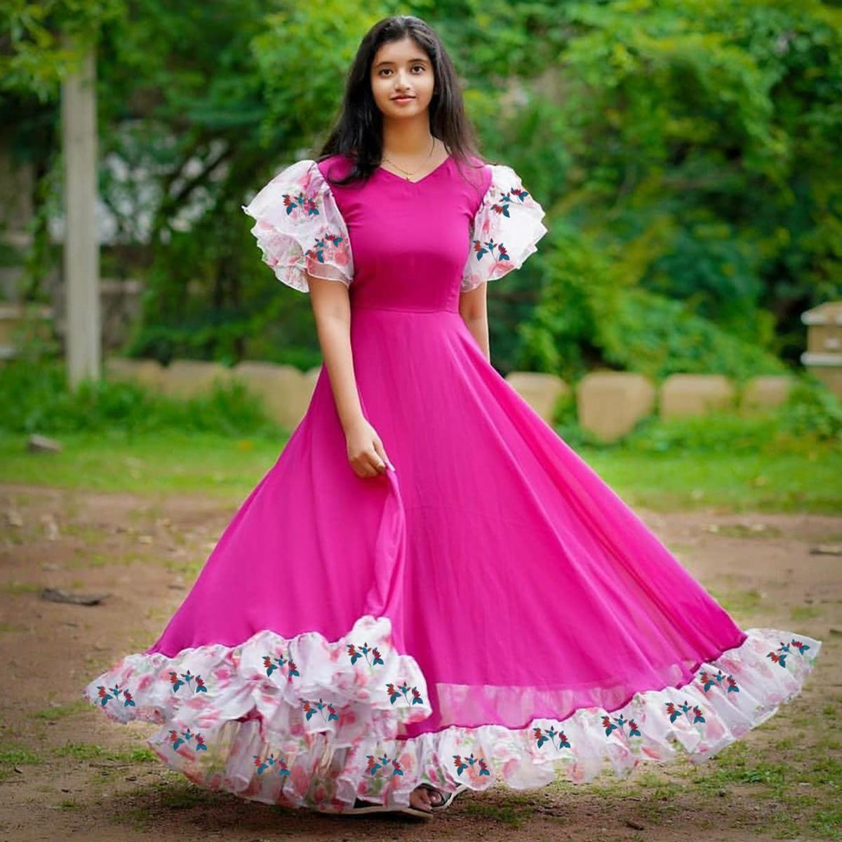 Eye-catching Pink Colored Partywear Ruffle Sleeved Georgette Gown
