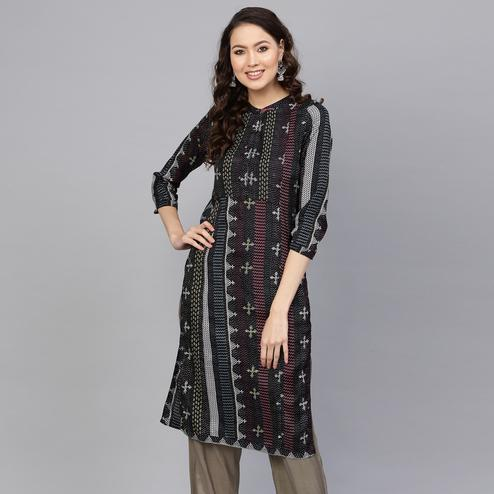 Radiant Black Colored Casual Wear Printed Polyester Kurti