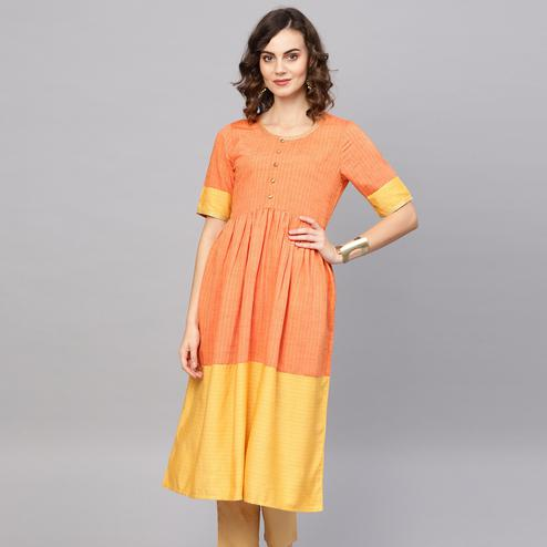 Pleasant Orange Colored Casual Wear Printed Cotton Kurti