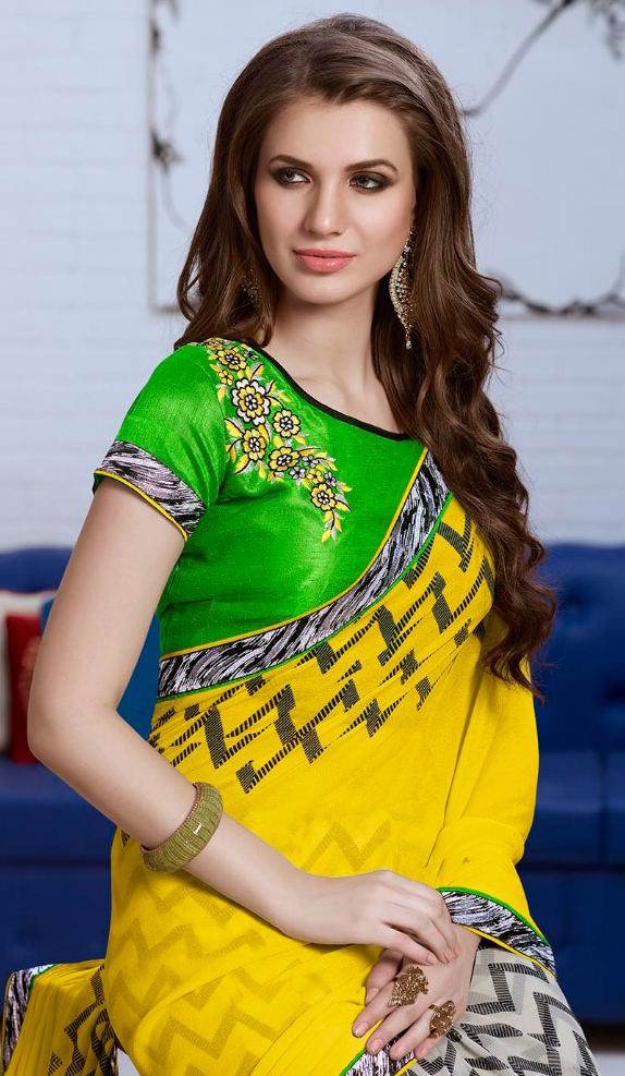 Yellow - White Zigzag Pattern Half Saree