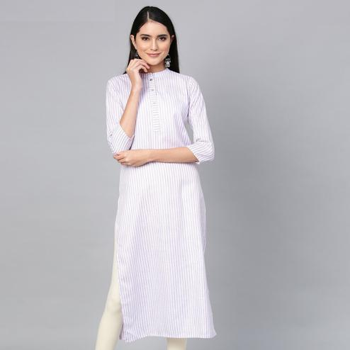Demanding Light Purple Colored Casual Wear Printed Cotton Kurti