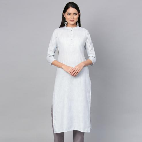 Hypnotic White Colored Casual Wear Printed Cotton Kurti