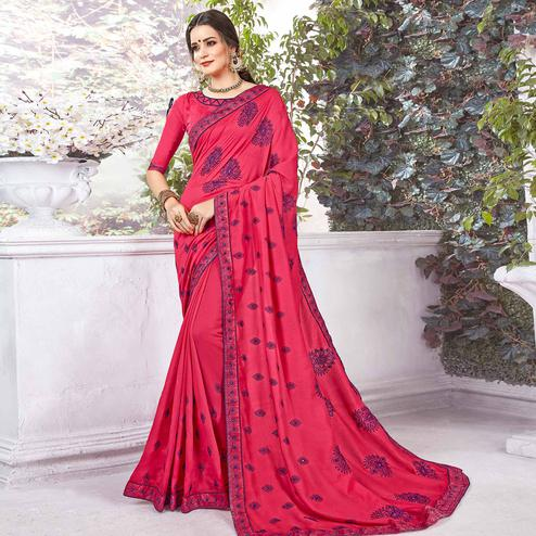Adorable Dark Pink Colored Partywear Embroidered Georgette Saree