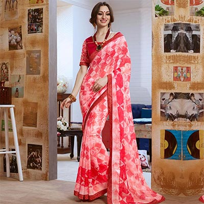 Pink Fancy Print Georgette Saree
