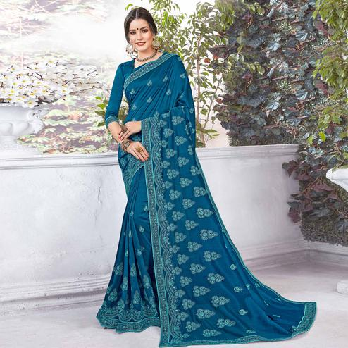 Classy Rama Blue Colored Partywear Embroidered Georgette Saree