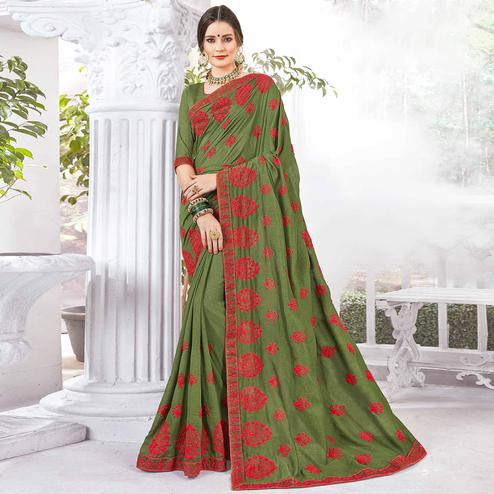Desirable Green Colored Partywear Embroidered Georgette Saree