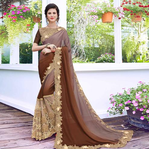 Graceful Brown Colored Partywear Embroidered Art Silk Saree