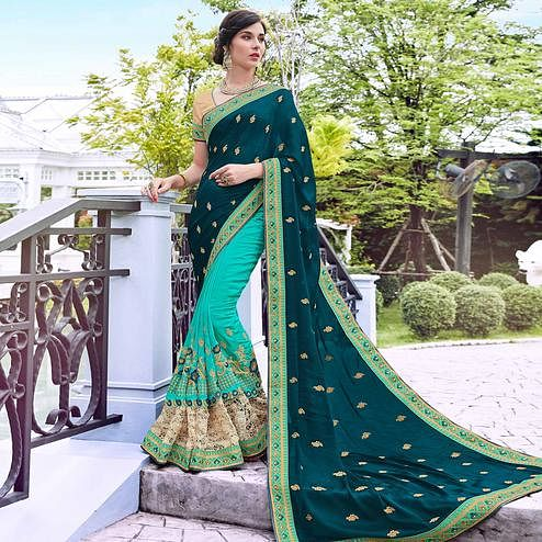Sophisticated Turquoise Green Colored Partywear Embroidered Art Silk Half-Half Saree