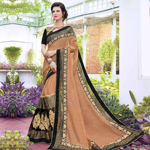 Blooming Light Brown Colored Partywear Embroidered Art Silk Saree
