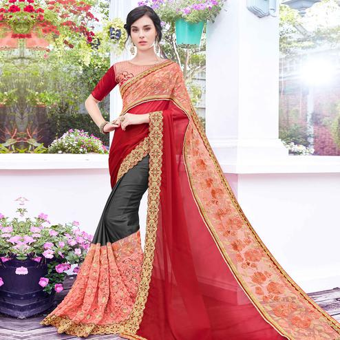 Charming Dark Grey Colored Partywear Embroidered Art Silk Half-Half Saree