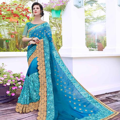 Elegant Sky Blue Colored Partywear Embroidered Art Silk Saree