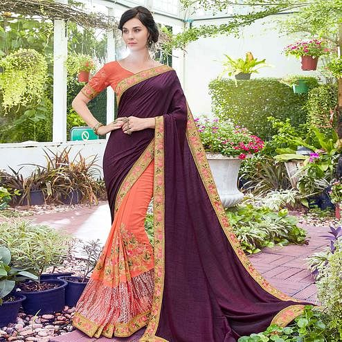 Adorning Peach Colored Partywear Embroidered Art Silk Half-Half Saree