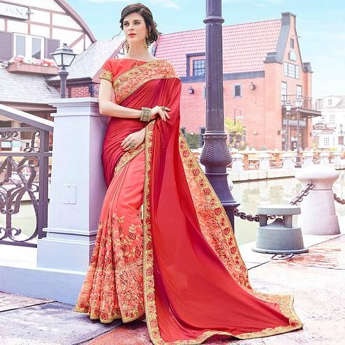Exclusive Pink Colored Partywear Embroidered Art Silk Half-Half Saree