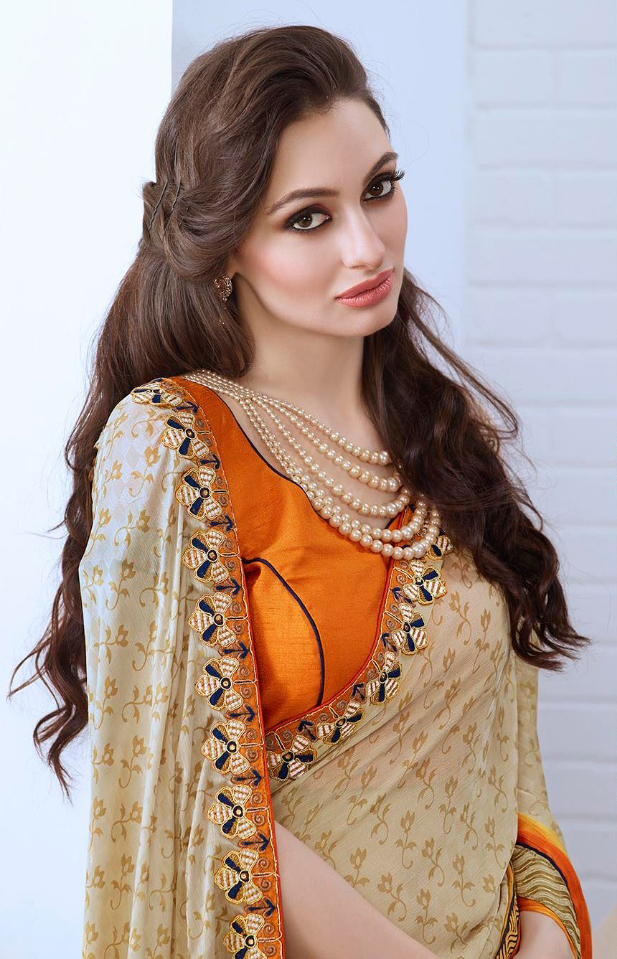 Beige - Orange Georgette Saree