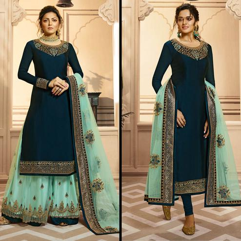 Magnetic Teal Green Colored Partywear Embroidered Georgette-Satin Dual Bottom Suit