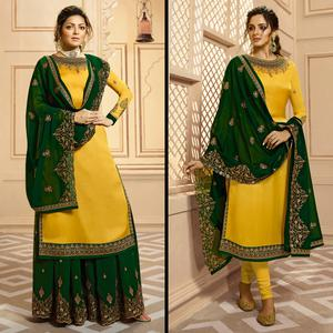 Hypnotic Mustard Yellow Colored Partywear Embroidered Georgette-Satin Dual Bottom Suit
