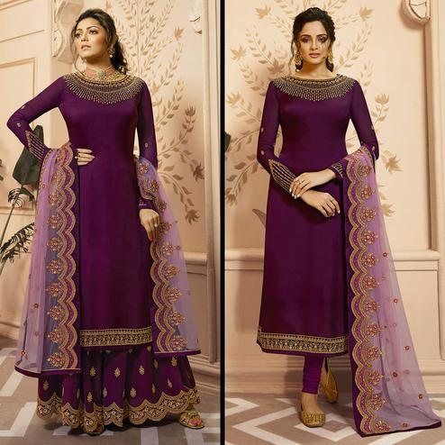 Flattering Dark Purple Colored Partywear Embroidered Georgette-Satin Dual Bottom Suit