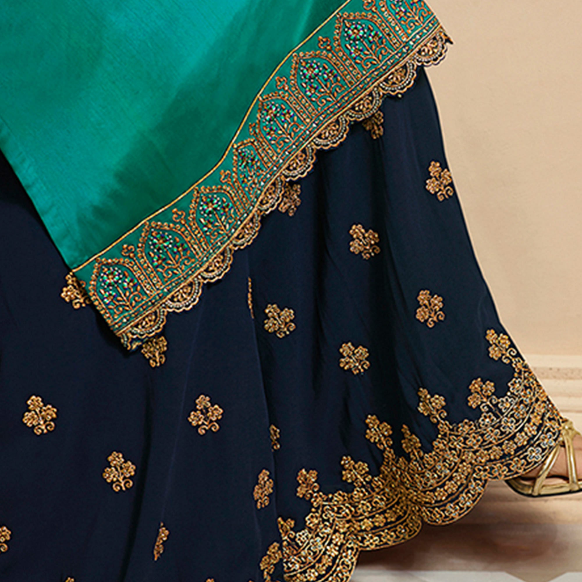 Excellent Turquoise Green Colored Partywear Embroidered Georgette-Satin Dual Bottom Suit