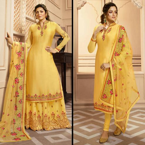 Preferable Yellow Colored Partywear Embroidered Georgette-Satin Dual Bottom Suit