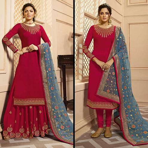 Marvellous Dark Pink Colored Partywear Embroidered Georgette-Satin Dual Bottom Suit