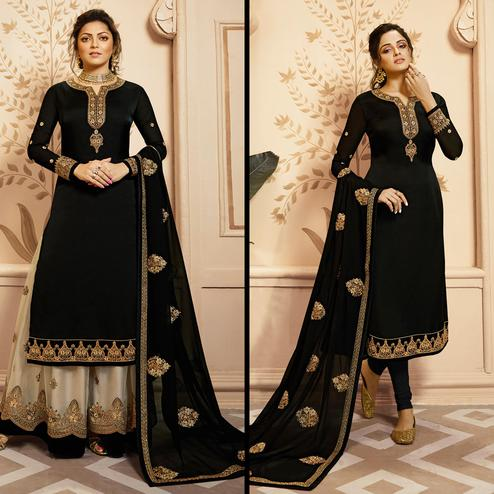 Flamboyant Black Colored Partywear Embroidered Georgette-Satin Dual Bottom Suit