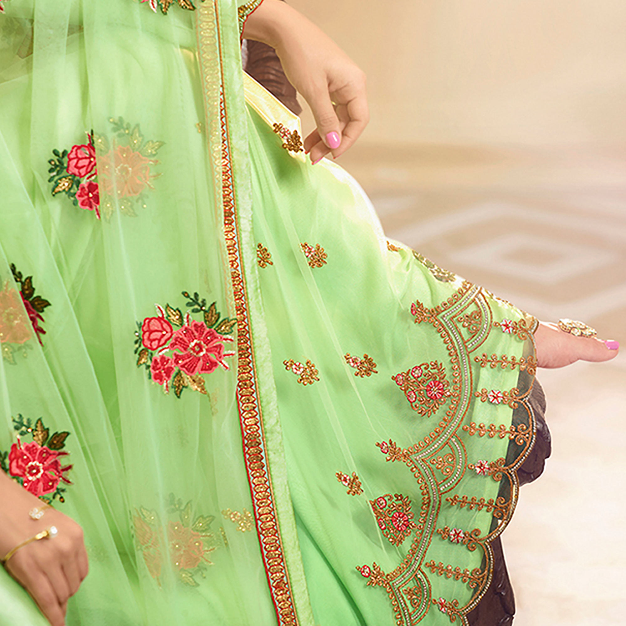 Mesmeric Pista Green Colored Partywear Embroidered Georgette-Satin Dual Bottom Suit
