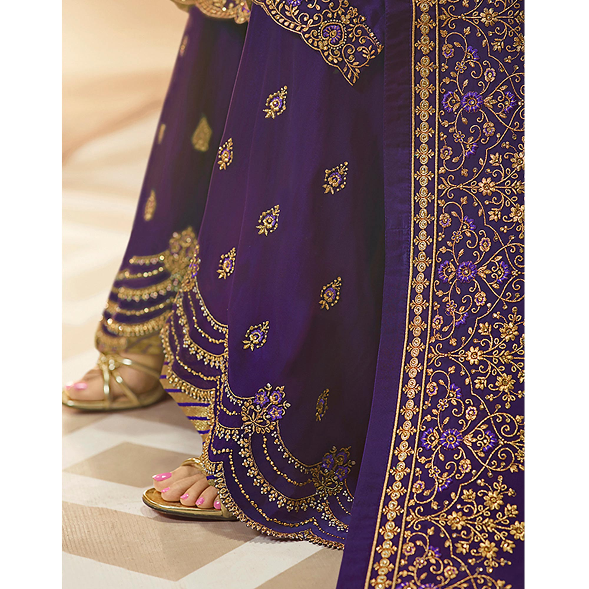 Alluring Purple Colored Partywear Embroidered Georgette-Satin Dual Bottom Suit