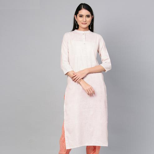 Majesty Light Peach Colored Casual Wear Printed Cotton Kurti