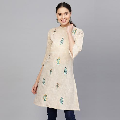 Ethnic Beige Colored Party Wear Floral Embroidered Cotton Kurti