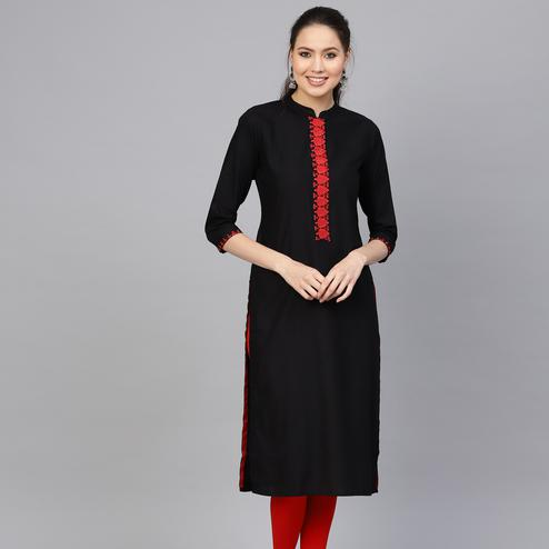 Ravishing Black Colored Party Wear Embroidered Viscose-Rayon Kurti